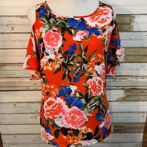 Tropical flower print cold shoulder top Small